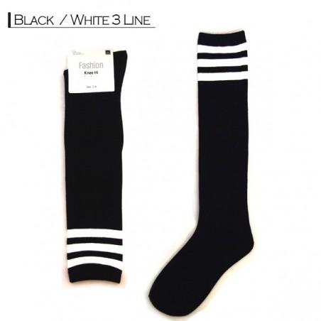 Fashion Knee High - Black White 3 Line