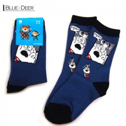 Kids Pattern Socks - Blue/Deer