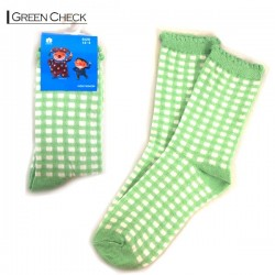 Kids Pattern Socks - Green Checker
