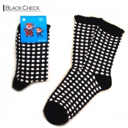 Kids Pattern Socks - Black Checker