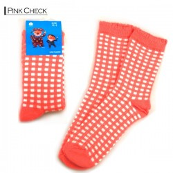 Kids Pattern Socks - Pink Checker
