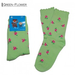 Kids Pattern Socks - Green Flower