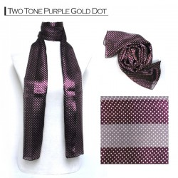 Silk Style Scarf - Two Tone Purple Gold Dot