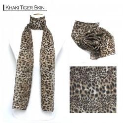 Silk Style Scarf - Khaki Tiger Skin