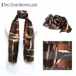 Silk Style Scarf - Two Tone Brown Leaf