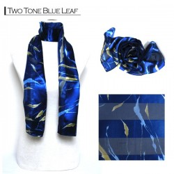 Silk Style Scarf - Two Tone Blue Leaf