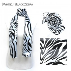 Silk Style Scarf - White/Black Zebra