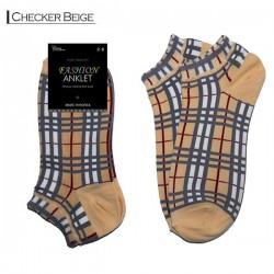 Fashion Anklet - Checker Beige