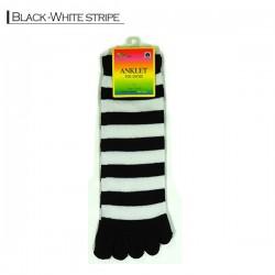 Toe Socks - Black white stripe