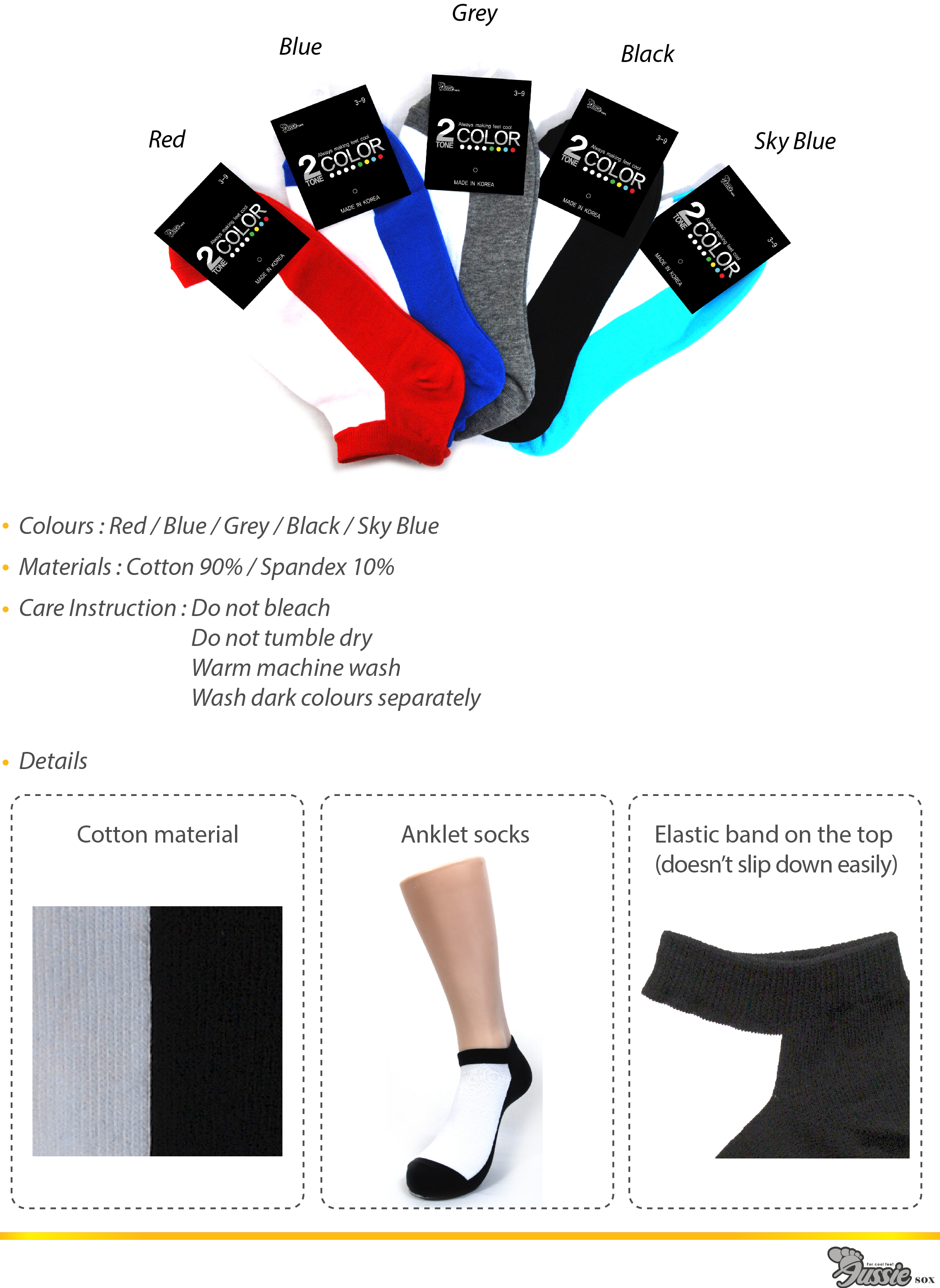 2 Tone Colour Thin Anklet Socks in a wide range of colours.