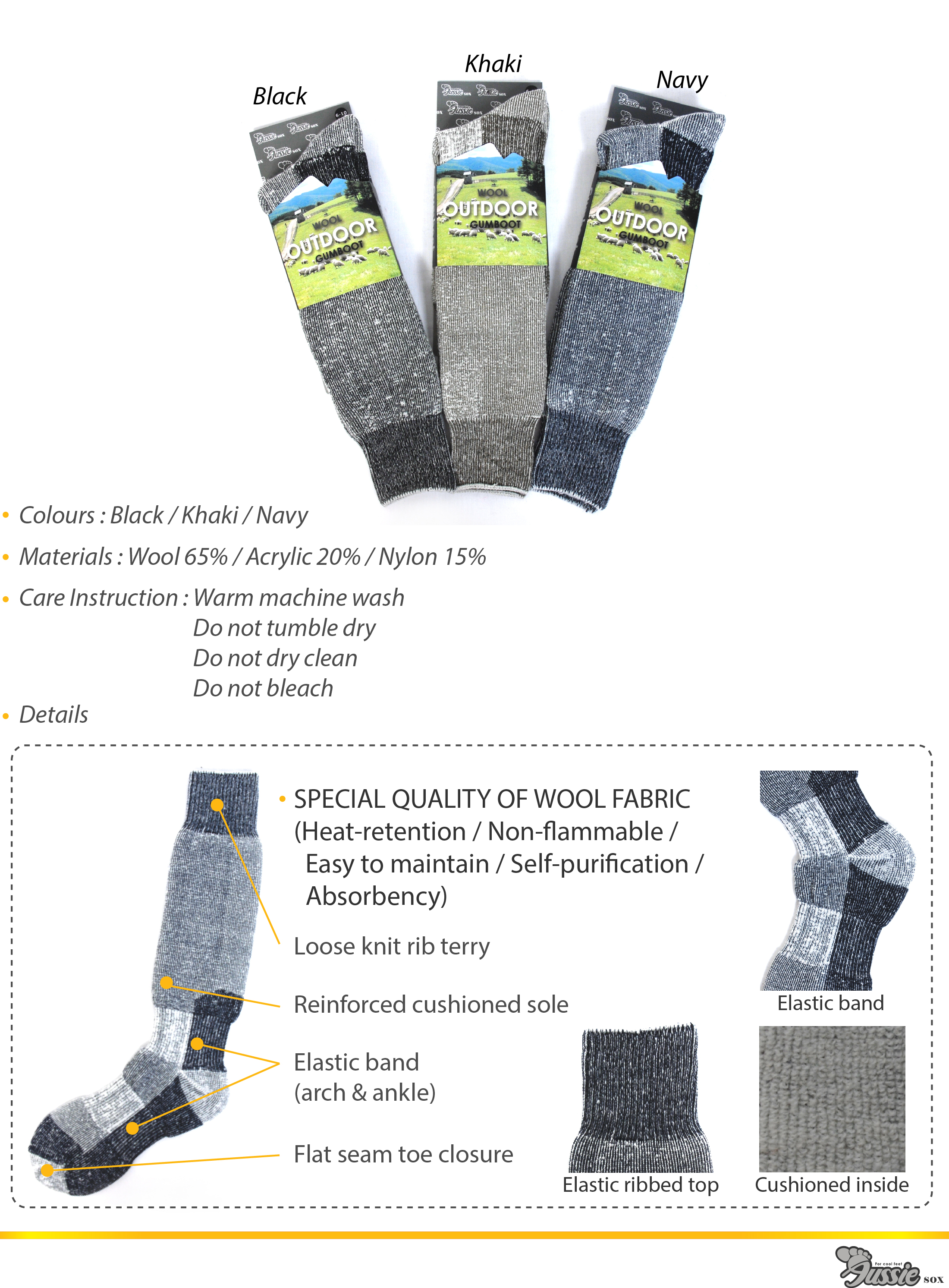 Wool gumboot socks