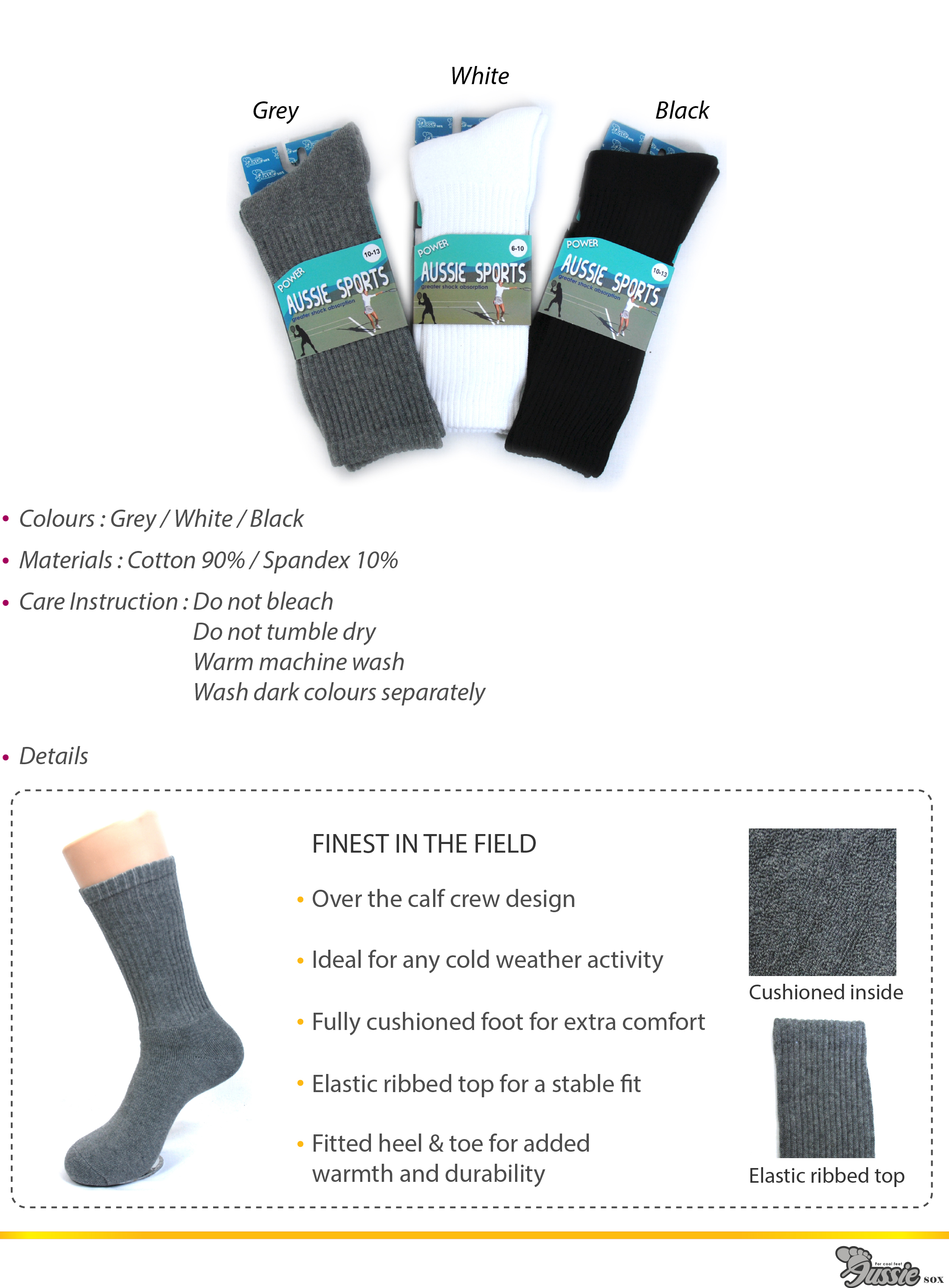 Sports socks in various colours.