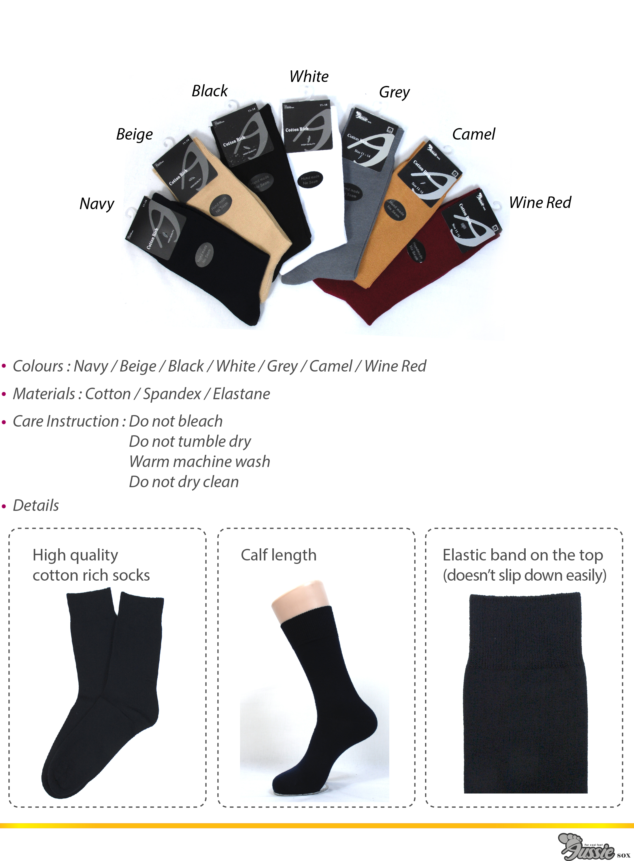 High quality cotton rich socks in a wide range of colours.