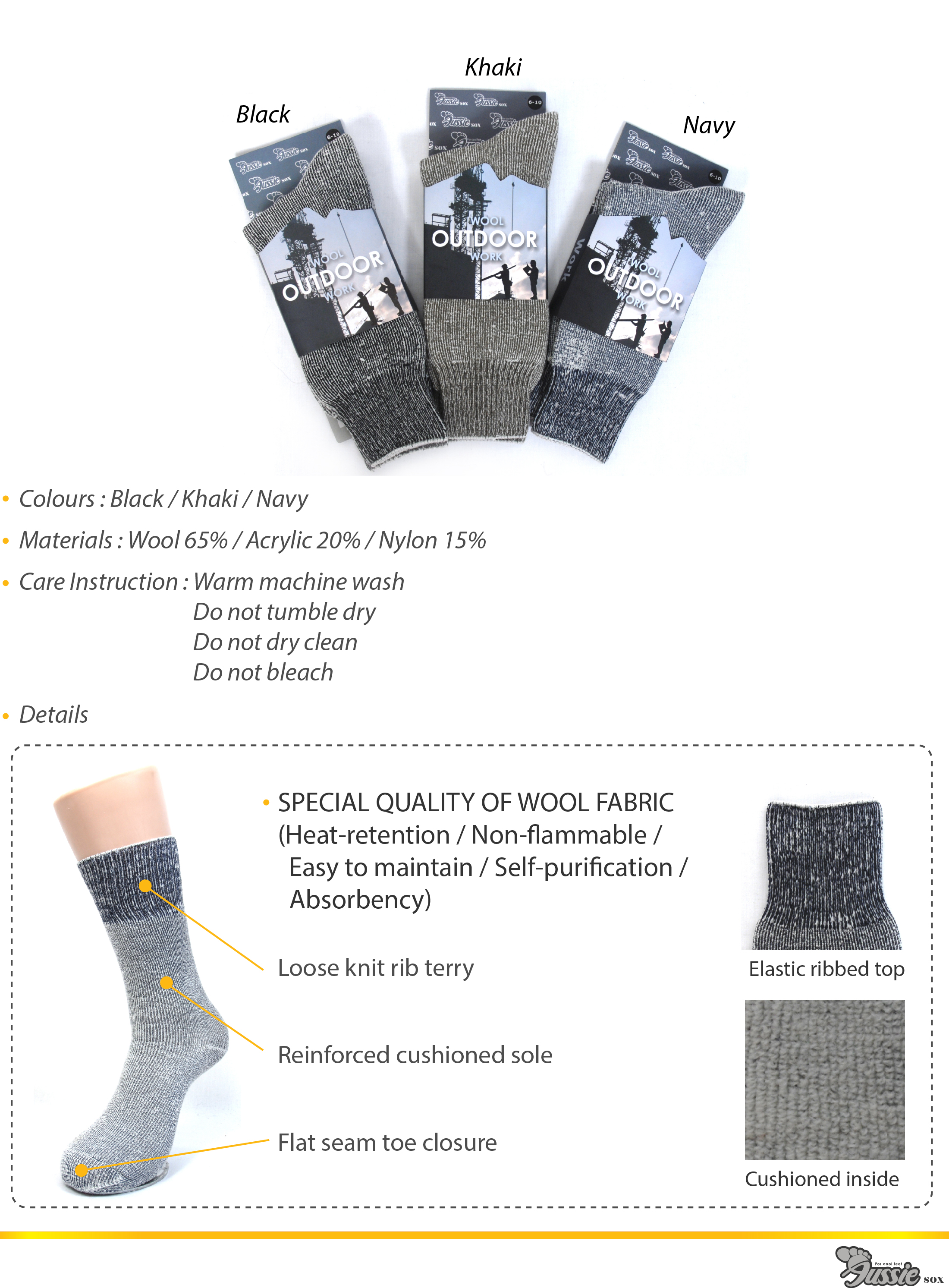 Wool work socks in three different colours.