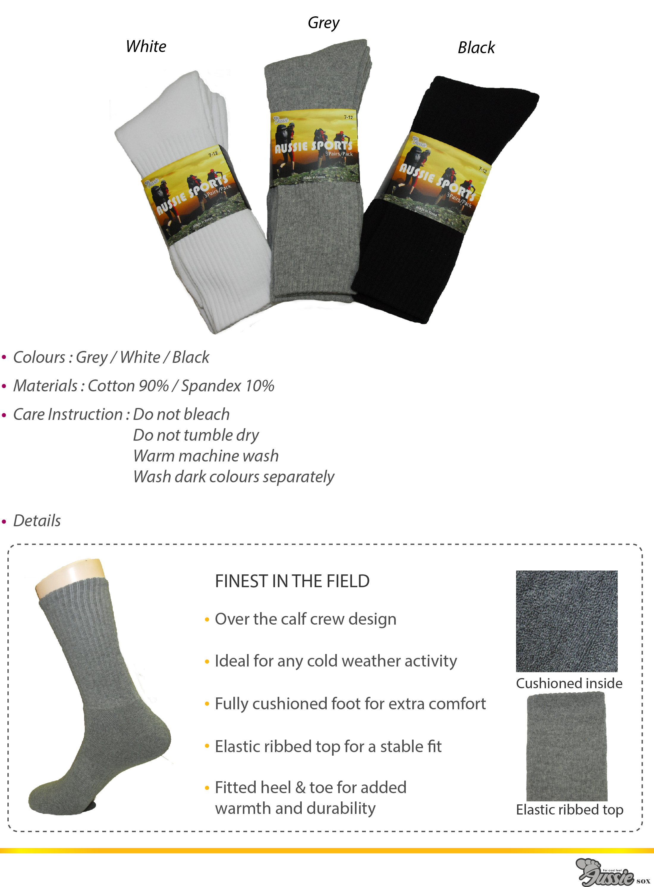 Sports socks 3 pairs pack for outdoor