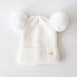 Baby Beanie - Pompom / White