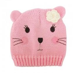 Baby Beanie - Cute Cat / Pink