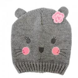 Baby Beanie - Cute Cat / Grey