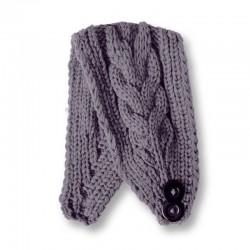 Twist Knitted Headband - Grey