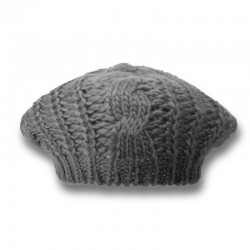 Cable Knit Beret / Grey