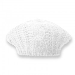 Cable Knit Beret / White