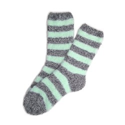 Bed Socks Long - Grey & Mint