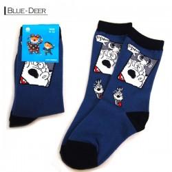 Kids Pattern Socks - Blue/Deer
