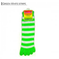 Toe Socks - Green white stripe