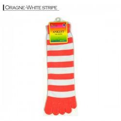 Toe Socks - Orange white stripe