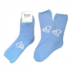 Bed Socks - Heart Blue