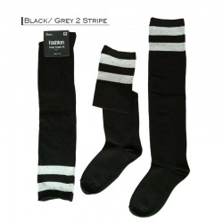 Fashion Over The Knee (50cm) - Black / Grey 2 Stripe
